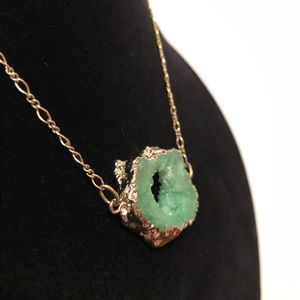 Green Geode Slice/Agate Necklace